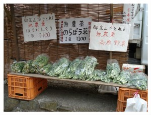 Spinach and mustards at honor system vegetable stand in Tokyo, Japan